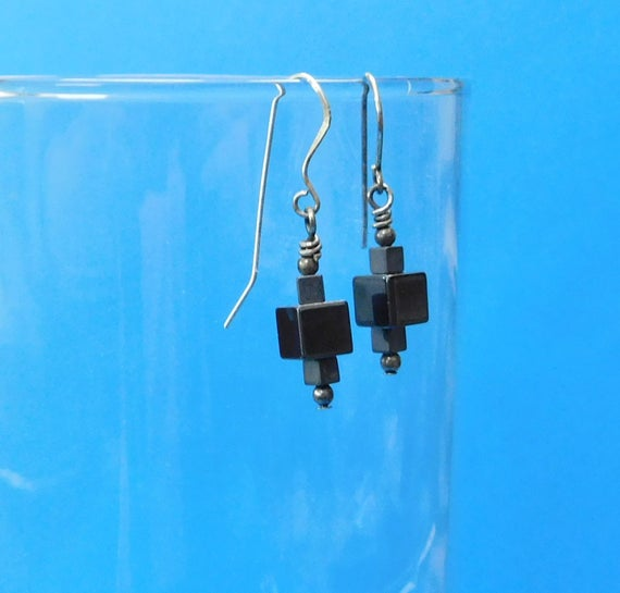 Small Hematite Earrings, Unique Gemstone Jewelry, Tiny Handmade Black Cube Dangles, Artisan Crafted Birthday Present Ideas for Wife or Mom