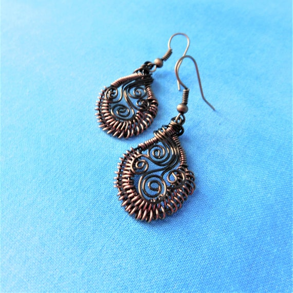Unique Artisan Crafted Rustic Copper Earrings, Artistic Handmade Woven Wire Wrapped Dangles, Unique Wearable Art Jewelry Gift Idea for Women