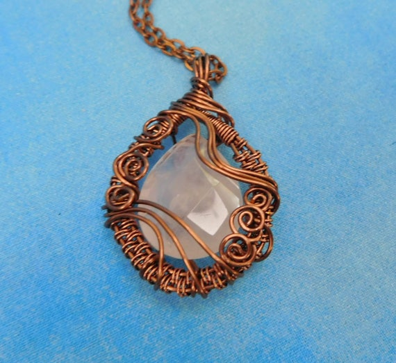 Artistic Rose Quartz Necklace, Artisan Crafted Wire Wrapped Gemstone Pendant, One of a Kind Wearable Art Jewelry Gift for Girlfriend or Wife