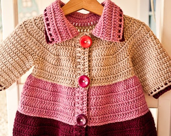 Crochet PATTERN - Tiered Jacket (sizes 6-12m  up to 10years)