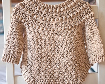 Crochet PATTERN  - Jasmine Sweater (child sizes 1-2y up to 9-10years and adult size S/M) (English only)