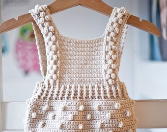 Crochet PATTERN  - Bobble Romper (sizes 0-3, 6-9, 12-18 months) (English only)