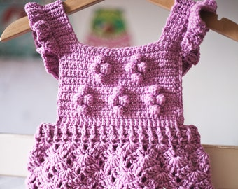 Crochet PATTERN  - Lilac Romper (sizes 0-6, 6-12, 12-18 and 18-24 months) (English only)