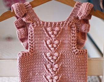 Crochet PATTERN  - Berry Romper (sizes 0-3, 6-9, 12-18 months) (English only)