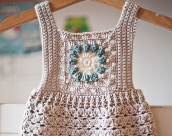 Crochet PATTERN  - Granny Square Romper (sizes 0-3, 6-9, 12-18 months) (English only)