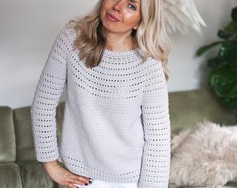 Crochet PATTERN  - Pearl Sweater (sizes S, M, L, XL, XXL) (English only)