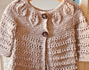 322b72473fd8 Knitting Pattern (pdf file) Instant Download - Knit Leaves Cardigan (sizes  up to 12 years)