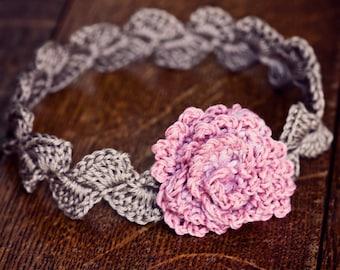 Crochet PATTERN  - Centifolia Rose Headband (sizes - baby to adult) (English only)
