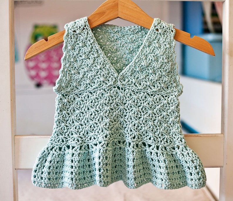 Crochet PATTERN  Peplum Top sizes baby up to 10 years image 0