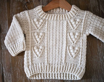 Crochet PATTERN  - Berry Sweater (child sizes from 6-9m up to 9-10years) (English only)