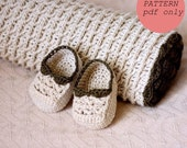 Crochet PATTERN - Choco Baby Blanket and Booties (English only)