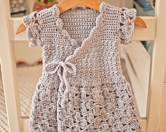 Crochet dress PATTERN - Lavender Wrap Dress (sizes up to 8 years)