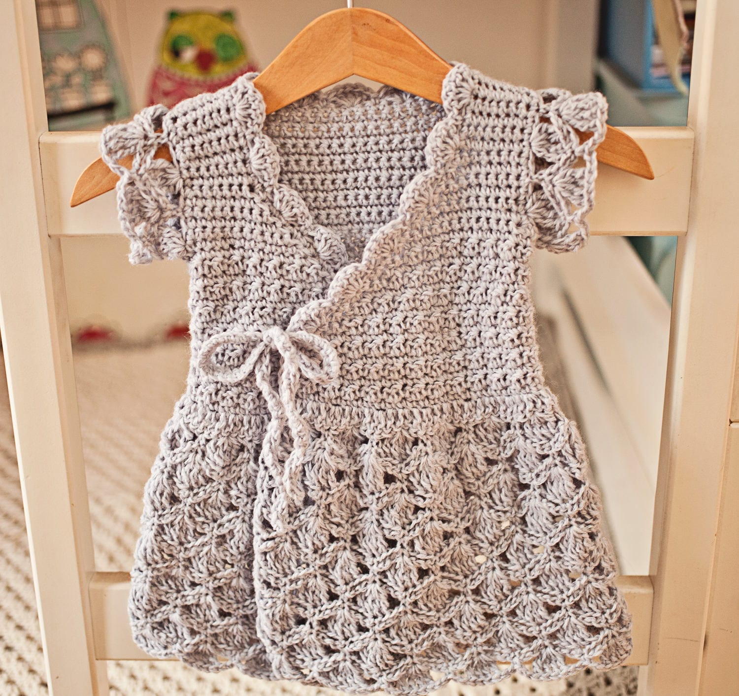 Crochet Dress Pattern Lavender Wrap Dress Sizes Up To 8 Etsy