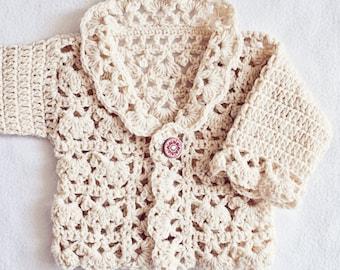 Crochet PATTERN - Harriet Lace Cardigan (sizes newborn up to 8 years)