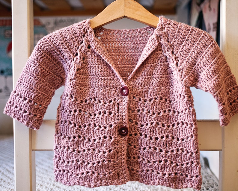 Crochet PATTERN  Wisteria Cardigan sizes baby up to 10 image 0