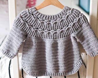 Crochet PATTERN  - Ester Sweater (child sizes 6-12m up to 9-10y) (English only)