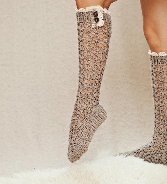 Crochet Pattern For Socks Lux Buttoned Socks Etsy