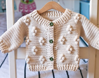 Crochet PATTERN - Cotton Flower Cardigan (sizes from 1-2y up to 10y) (English only)