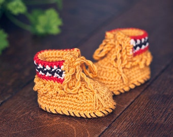Crochet PATTERN - Ethnic Style Baby Boots