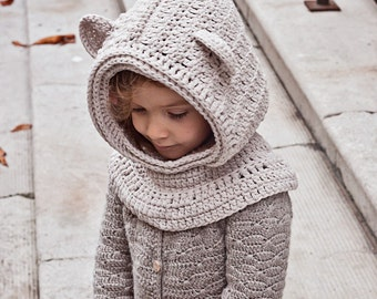 Crochet hat PATTERN - Polar Bear Hooded Cowl (baby to adult) (English only)