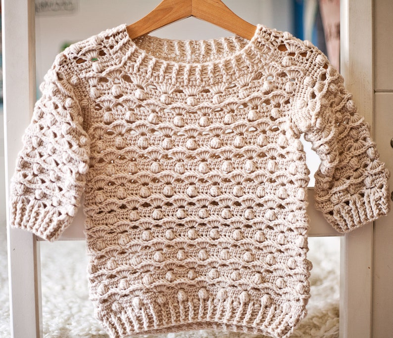 Crochet PATTERN   Waves and Bobble Sweater sizes baby up to image 0