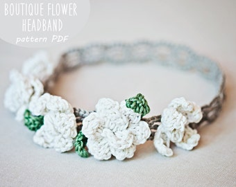 Crochet PATTERN  - Boutique Flower Headband (sizes - baby to adult) (English only)