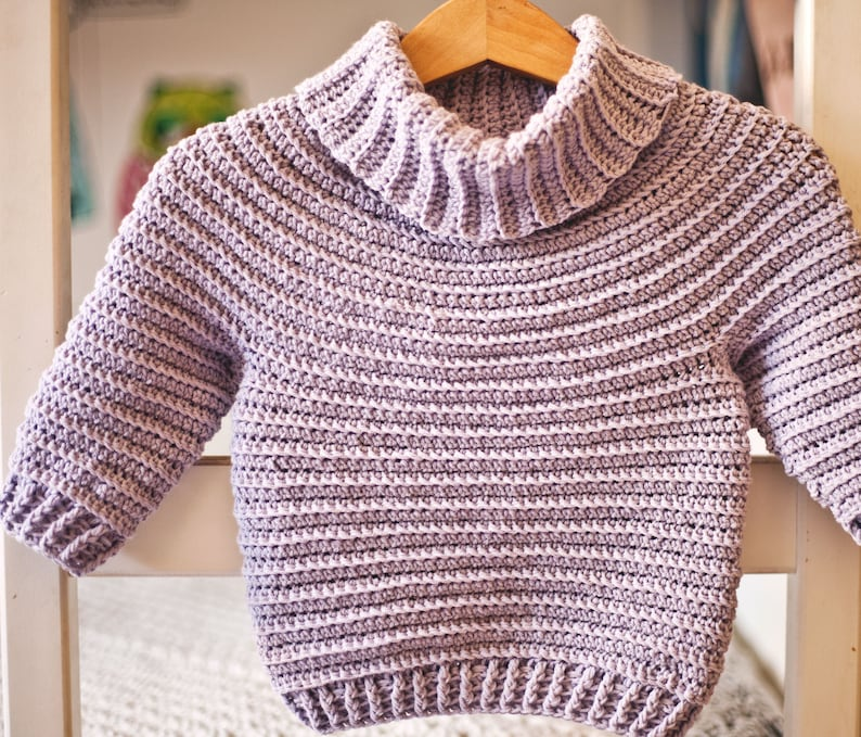 Crochet PATTERN   Turtleneck Pullover sizes 6-12m up to image 0