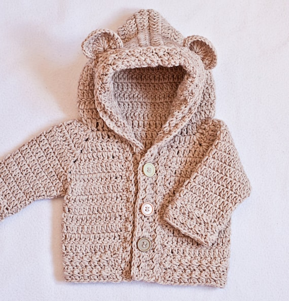 Crochet Pattern Bear Hooded Cardigan Sizes Baby Up To 8 Etsy