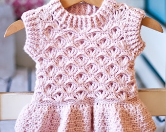 Crochet PATTERN - Ruffle Peplum Vest (sizes from 6-12m up to 9-10 years) (English only)
