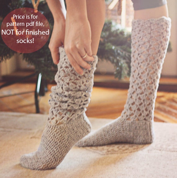 Crochet Pattern For Socks Christmas Morning Socks Etsy