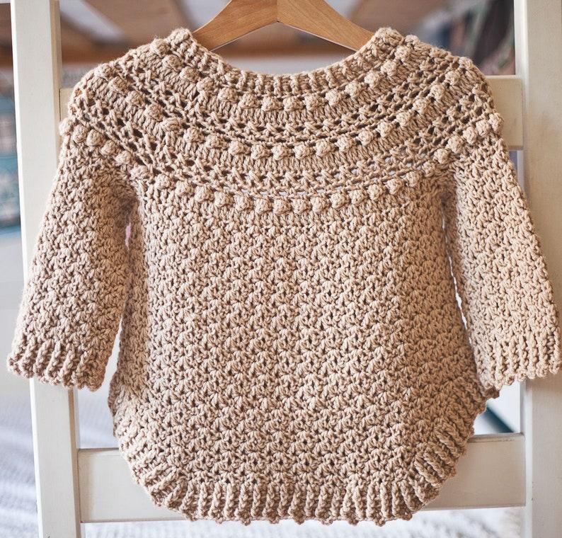 Crochet PATTERN   Jasmine Sweater child sizes 1-2y up to image 0