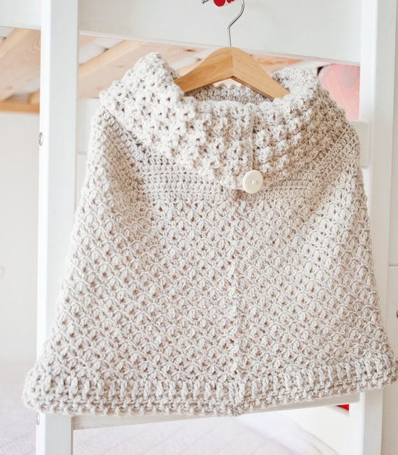 Crochet Pattern Poncho With Oversized Collar Sizes Baby To Etsy