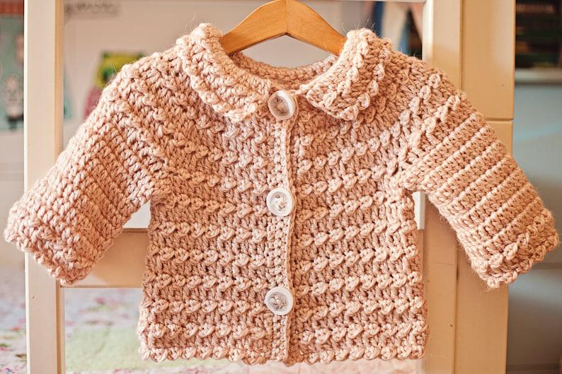 f7ca04e0a Crochet PATTERN Meringue Cardigan sizes 6-12m up to