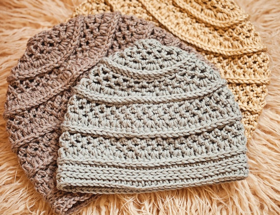 Crochet Hat Pattern Textured Beanie Sizes Baby To Adult Etsy