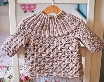 Crochet PATTERN  - Cappuccino Sweater (child sizes 1-2y up to 11-12years) (English only)