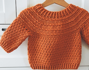 Crochet PATTERN  - Pumpkin Sweater (child sizes 6-12m up to 9-10years) (English only)