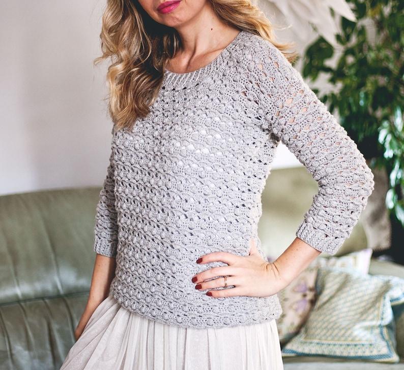 Crochet PATTERN   Pretty Bobble Sweater sizes S M L XL image 0
