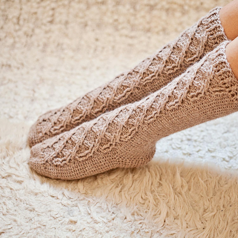 Crochet Pattern For Socks Cable Socks Etsy