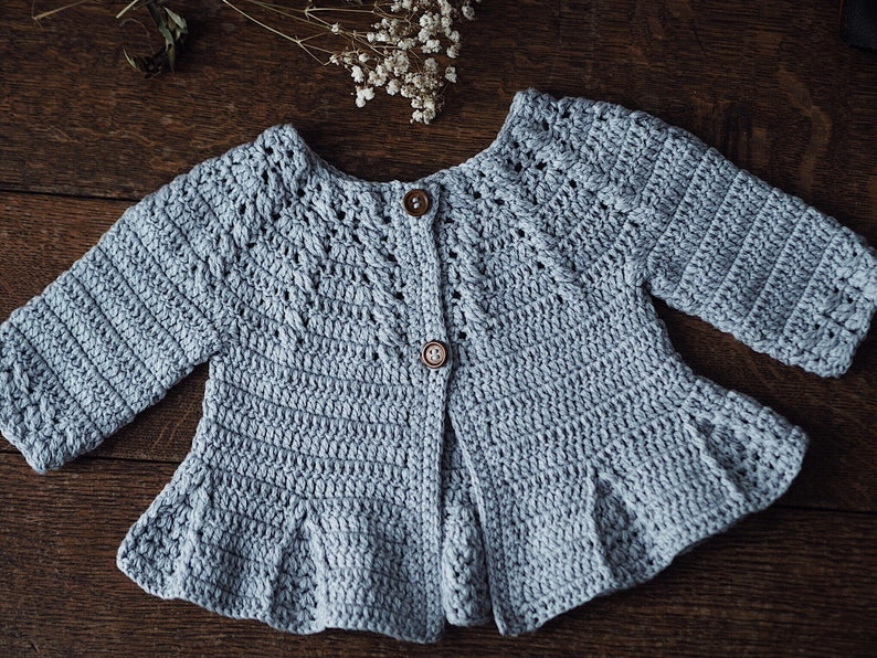 46264488a Crochet PATTERN Cable Cardigan with Pleats sizes baby up to