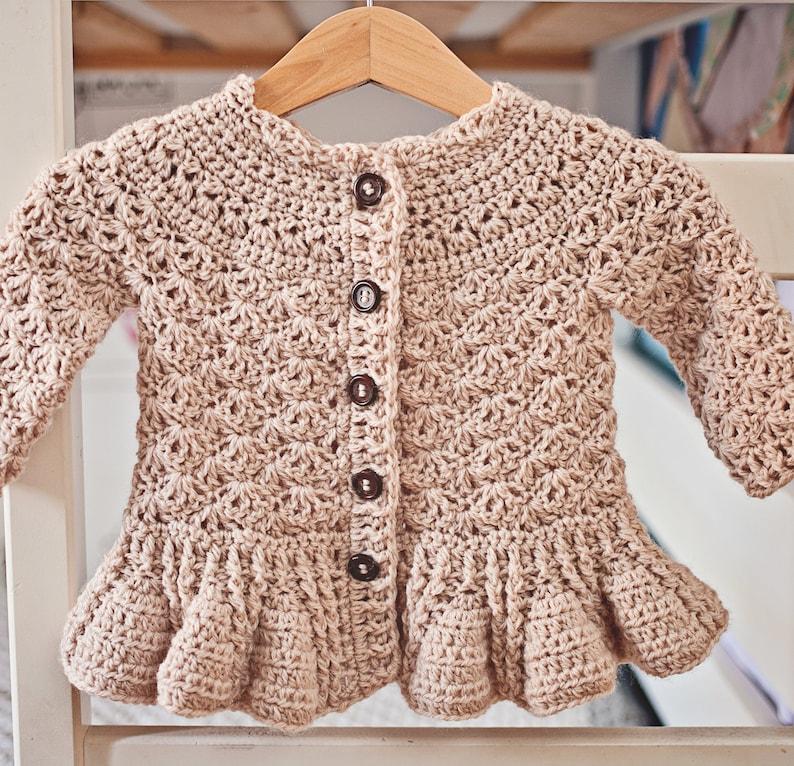 d873be8b1 Crochet PATTERN Soft Wool Peplum Cardigan sizes baby up to