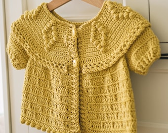 Crochet PATTERN - Sunny Cardigan (sizes from 6-12m up to 10y) (English only)