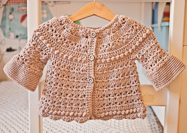 637794670 Crochet PATTERN Bell Sleeve Cardigan sizes baby up to 6
