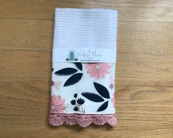 White Blush Navy Floral Pastel Crochet Kitchen Bar Mop Towel