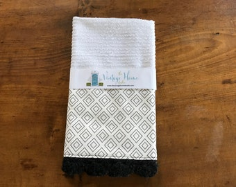 Stepping Stone Black and White Crochet Kitchen Bar Mop Towel