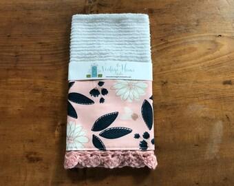 Blush Floral Crochet Kitchen Bar Mop Towel
