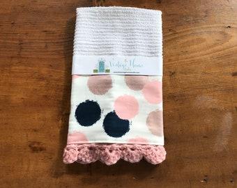 Navy Blush Bronze Dot Crochet Kitchen Bar Mop Towel