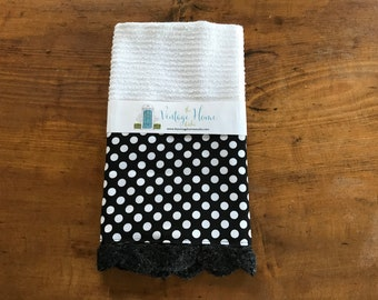 Black and White Polka Dot Crochet Kitchen Bar Mop Towel