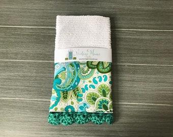 Summer Cool Paisley Crochet Kitchen Bar Mop Towel