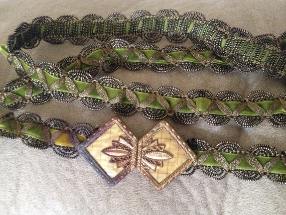 Art Deco METALIC GREEN BELT, Olive Green Velvet w