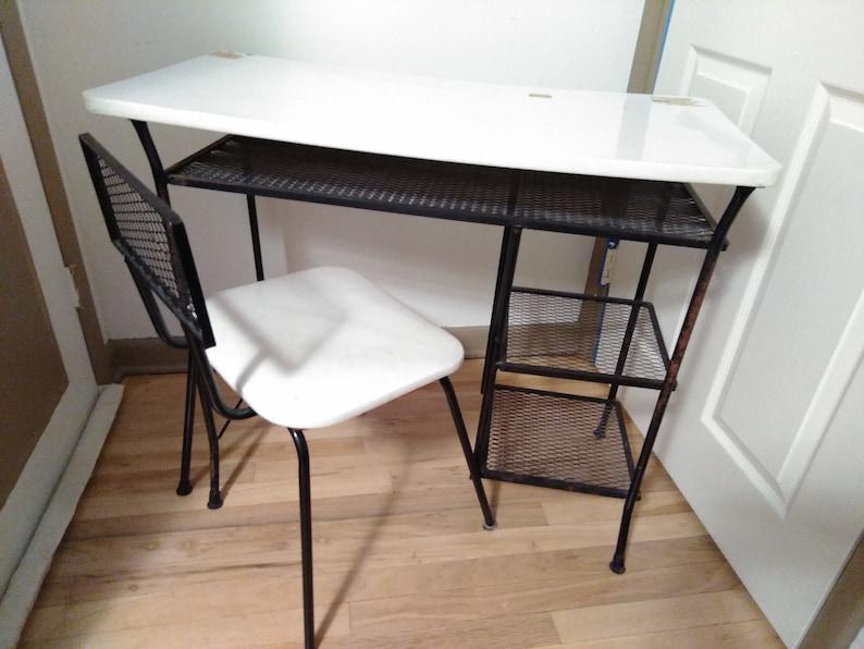 Loroman bureau chaise n mi siècle en fer forgé maille bureau & etsy